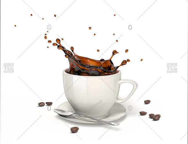 Liquid coffee pours and splashes in a white cup and saucer