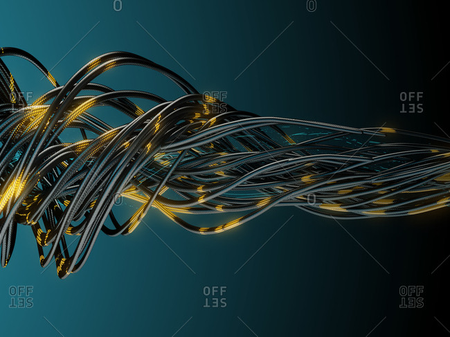 Bundle of network cables during data transmission. 3d render.