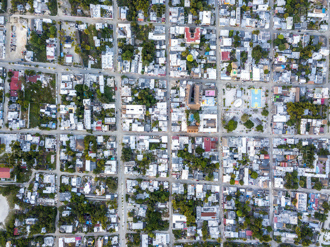 A small city in Mexico seen from directly above, Island Holbox, Mexico