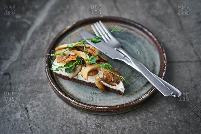 Gourmet bruschetta with mushrooms and cream cheese