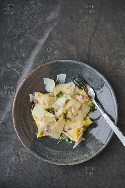 Homemade ravioli with gran spiccio cheese