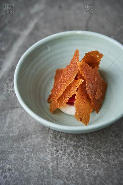 Gourmet dessert in a bowl