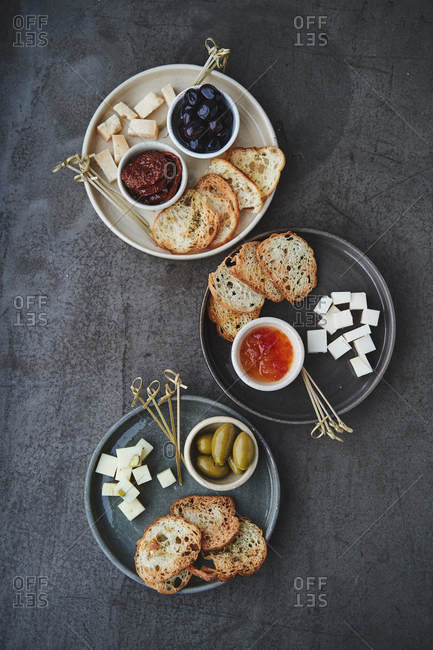 Various snacks for wine