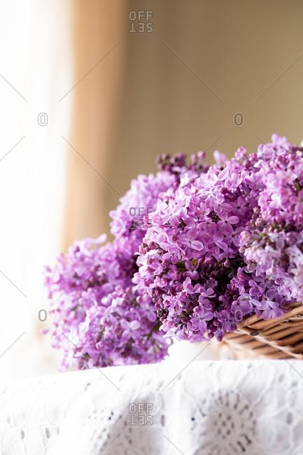 Purple lilacs in a basket