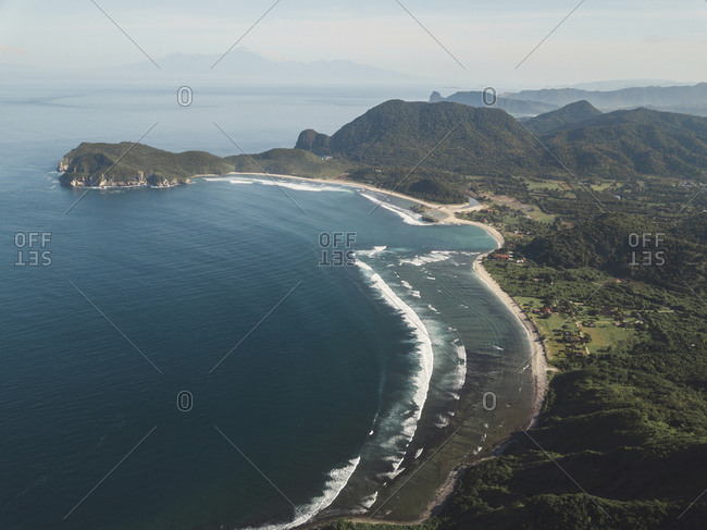 Aerial view of ocean coastline, Sumbawa, Indonesia