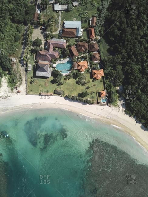 Aerial view of tropical resort, Sumbawa, Indonesia