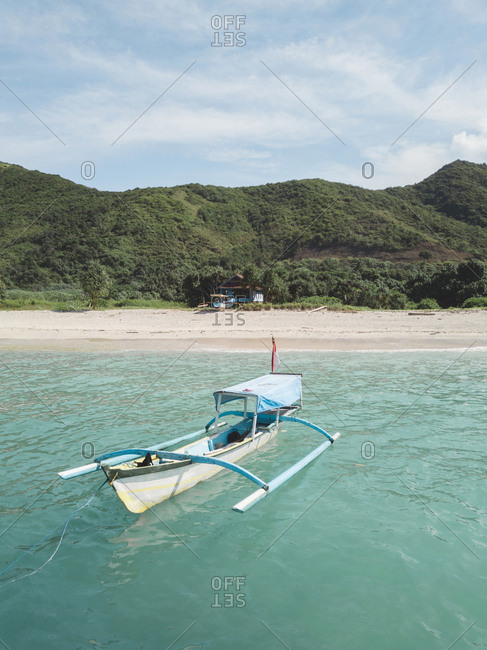Aerial view of boat near the beach, Sumbawa, Indonesia