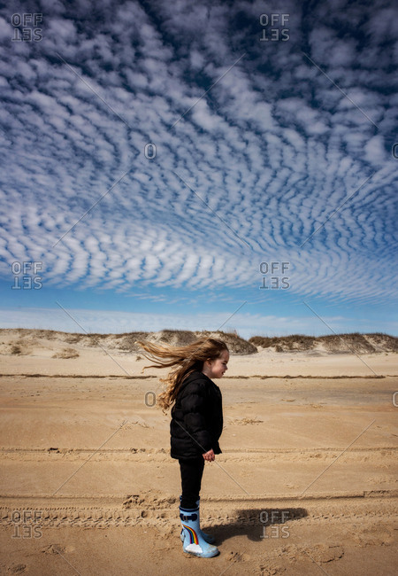 Young girl with long curly hair blowing on beach with blue skies