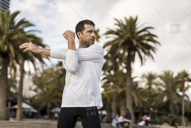 Man doing stretching and Yoga Outdoor