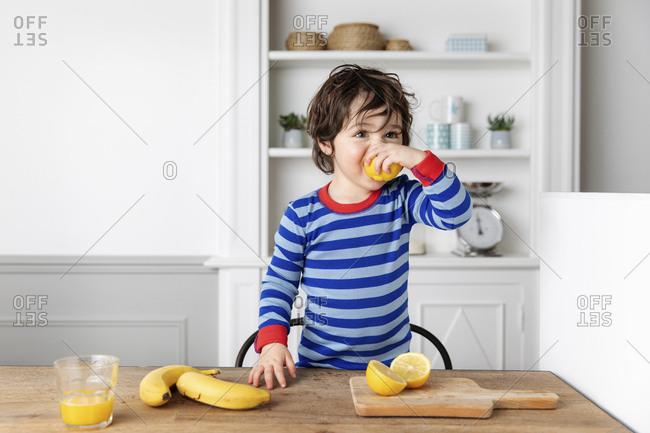 Toddler at kitchen table biting a lemon