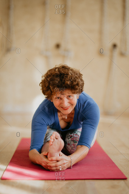 Close up Portrait of a Woman Doing Yoga
