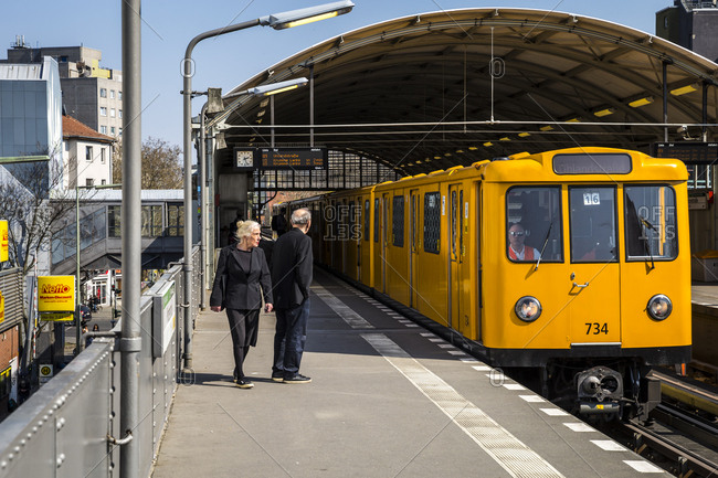 April 8, 2019: Passengers wait to get on a train at the Prinzenstrasse UBahn station in Berlin, Germany.