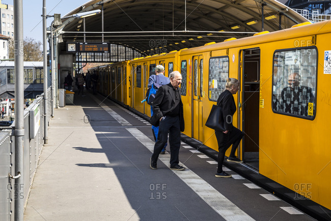 April 8, 2019: Passengers getting onto a train at the Prinzenstrasse UBahn station in Berlin, Germany.