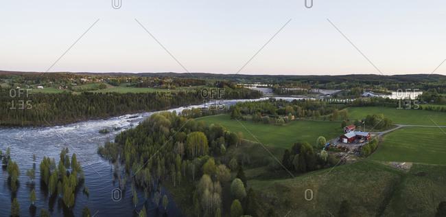 River winding in rural area