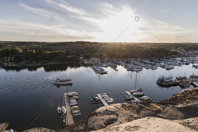 Sweden - July 29, 2018: Sunset over harbor