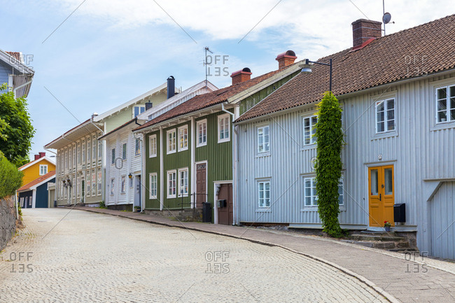 Sweden - June 10, 2018: Colorful houses in village