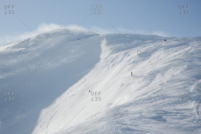 Ski slope in mountains - Offset