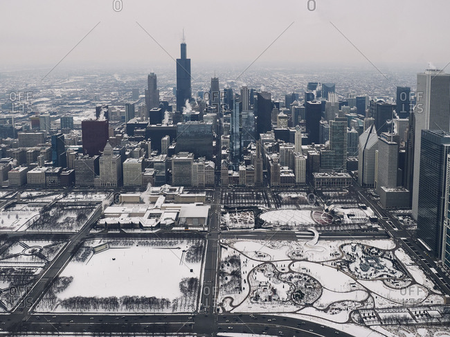Chicago, Illinois - December 29, 2017: Aerial view of the city