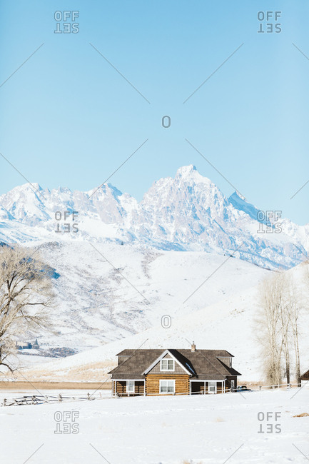 January 13, 2019: Jackson hole homestead sunny winter day in Wyoming
