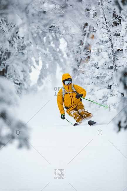 Young male skier in yellow jacket turns through snowy forest