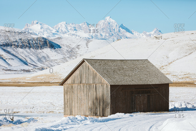 January 13, 2019: Old barn in Wyoming with mountain views