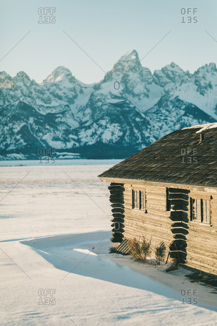 Jackson, Wyoming - January 13, 2019: Log cabin with a fantastic teton view in Wyoming