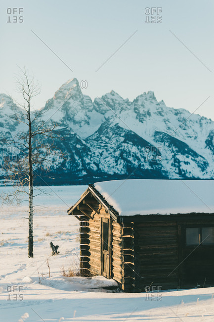 Jackson, Wyoming - January 13, 2019: Wyoming cabin in the middle of now where beneath the tetons