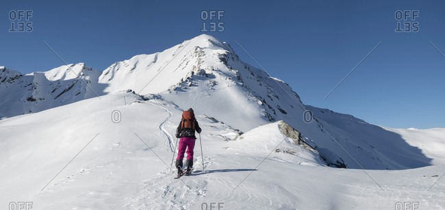 Switzerland- Bagnes- Cabane Marcel Brunet- Mont Rogneux- woman ski touring in the mountains
