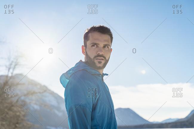 Germany- Bavaria- portrait of sportive man in winter