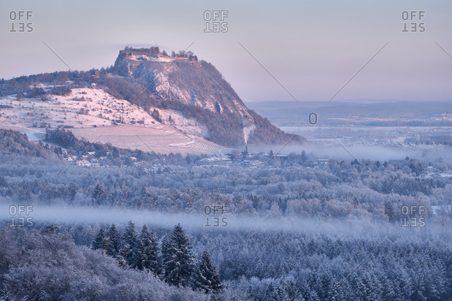 Germany- Baden-Wuerttemberg- Konstanz district- Hegau volcano Hohentwiel in winter in morning light