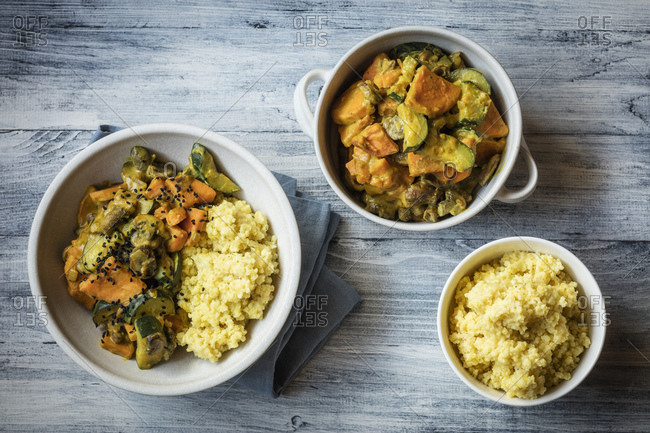Millet with creamy vegetables- courgette- sweet potatoes and mushrooms