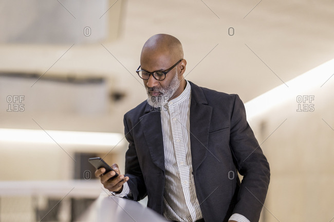 Portrait of bald mature businessman looking at cell phone