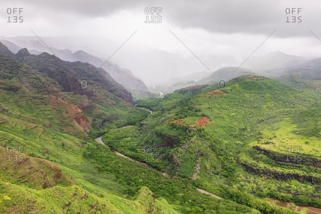 USA- Hawaii- Kaua'i- Waimea Canyon State Park- View to Waimea Canyon- Waimea Ditch- Mokihana Valley and Nihoa Gulch