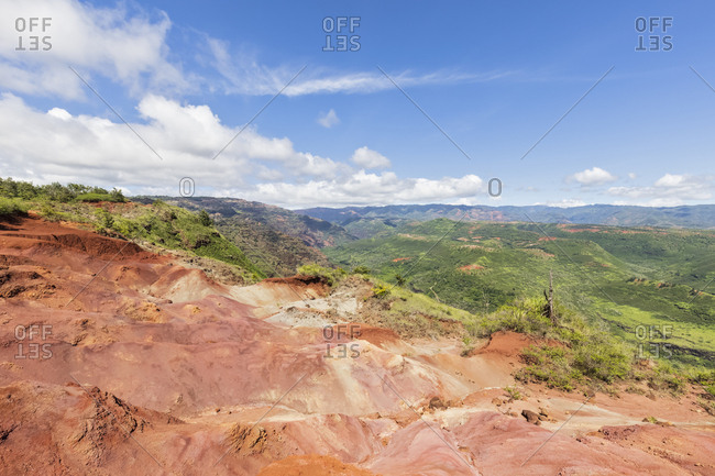 USA- Hawaii- Kaua'i- Waimea Canyon State Park- View to Waimea Canyon- Waimea Ditch- Mokihana Valley- erosions
