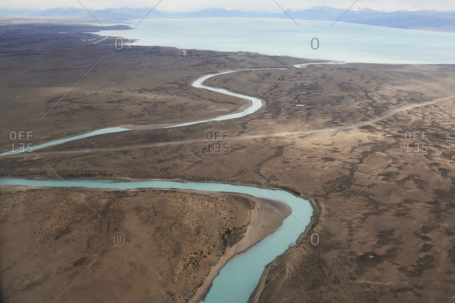 Argentina- Patagonia- Drone view of Lago Argentino and its tributary rivers at dry season