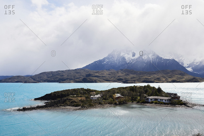 Chile- Patagonia- Landscape of river and mountains of Torres del Paine National Park