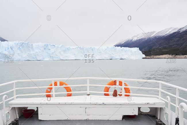 Argentina- Patagonia- Rear view of boat at Perito Moreno Glacier