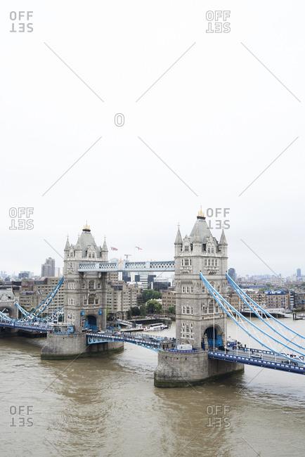 UK- London- Aerial view of Tower Bridge
