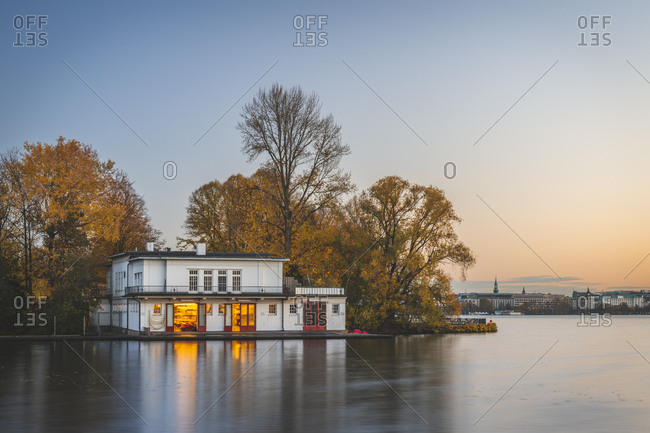 November 7, 2018: Germany- Hamburg- Outer Alster Lake- rowing clubhouse in autumn