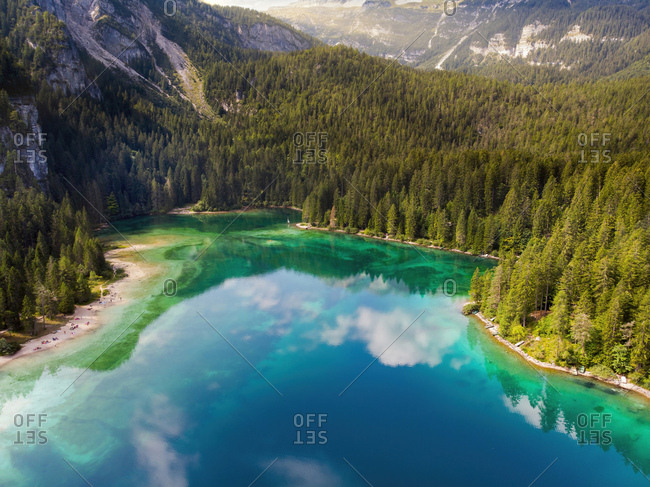 Italy- Trentino- South Tirol- Non Valley- aerial view of lake Tovel in summer