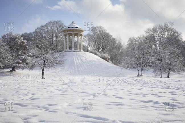 Germany- Munich- English Garden- Monopteros in winter