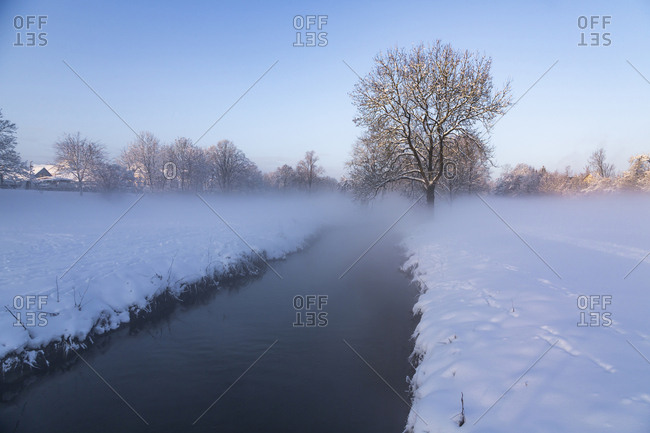 Germany- Landshut- foggy landscape in winter in the morning
