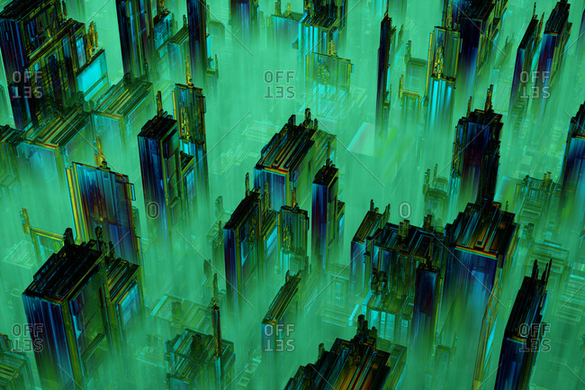 3D rendered illustration- Microchip architecture such as a CPU under the microscope