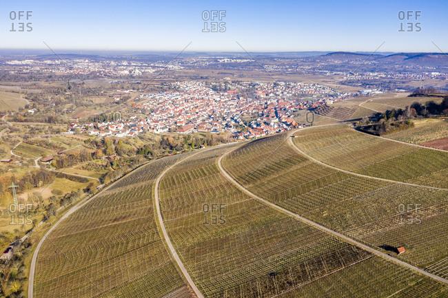 Germany- Baden-Wurttemberg- Stetten im Remstal- Aerial view of vineyards in winter