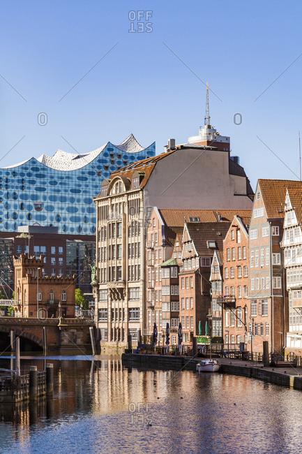May 7, 2018: Germany- Hamburg- Old Town- Town houses at Nikolai Fleet