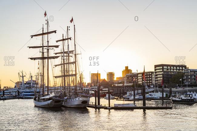 May 7, 2018: Germany- Hamburg- Baumwall- City Marina at sunset