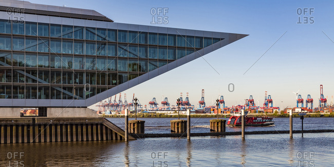 May 8, 2018: Germany- Hamburg- Altona-  View of harbor- cranes and ships