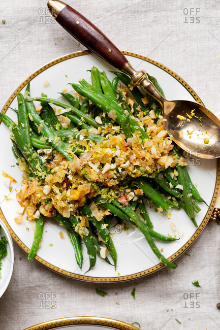 Green beans with caramelized onions, almonds, and lime zest