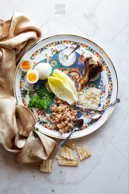 Overhead view of a Seder plate