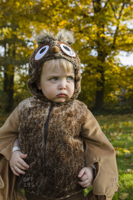 Toddler boy dressed as an owl seriously looks sideways on Halloween